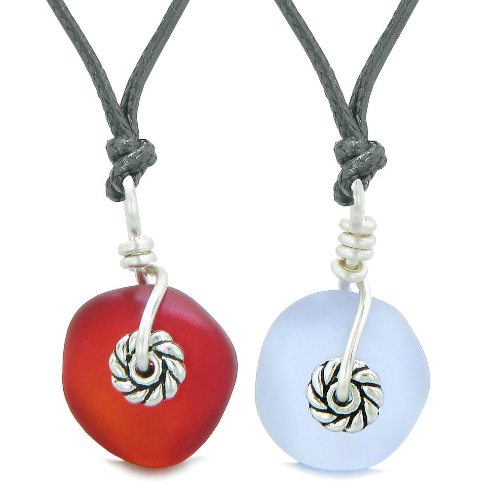 Twisted Twincies Cute Small Sea Glass Lucky Charm Love Couples BFF Set Cherry Red Pastel Purple Necklaces