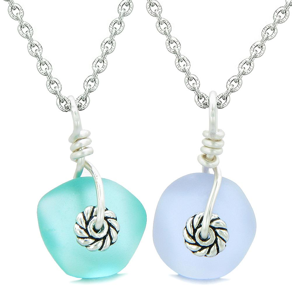 Twisted Twincies Cute Small Sea Glass Lucky Charms Love Couples BFF Set Pastel Purple Aqua Blue Necklaces