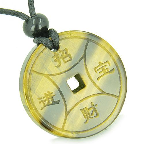 Amulet Magic Lucky Coin Fortune Symbols Medallion Tiger Eye Healing Powers Pendant Necklace