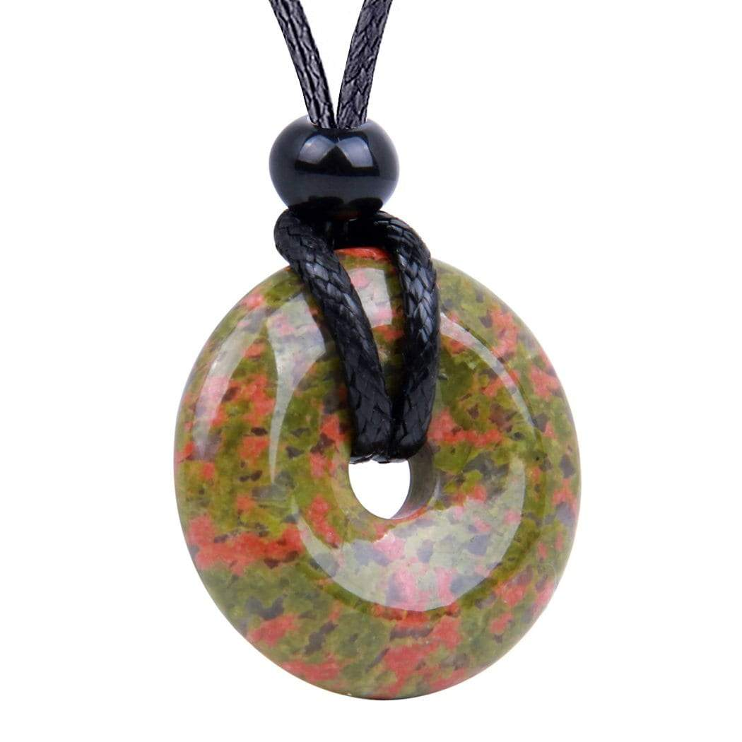Amulet Lucky Coin Shaped Donut Healing Aura Unakite Charm Magic and Protection Powers Necklace