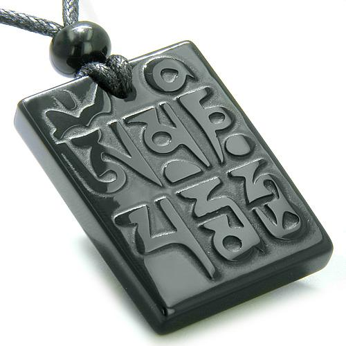 Amulet Ancient Tibetan Mantra OM Mani Padme Hum Good Luck Onyx ProtectiPendant Necklace
