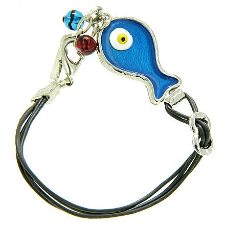 Handcrafted Amulet Evil Eye Protection Blue Fish Enamel Bracelet