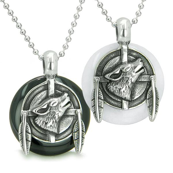 Amulets Best Friends Love Couple Howling Wolf Medallions Ying Yang Jade Onyx Pendants Necklaces