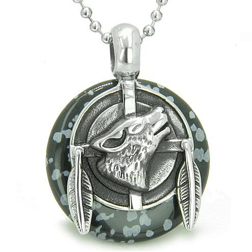 Amulet Howling Wolf Feathers Medallion Protection Powers Snowflake Obsidian Lucky Donut Necklace