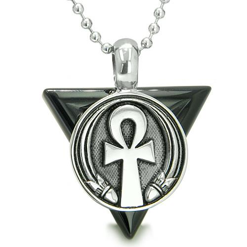 Amulet Ankh Egyptian Powers Life Pyramid Energies Onyx Trinity ProtectiSpirit Pendant Necklace