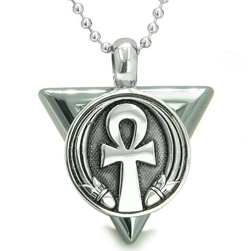 Amulet Ankh Egyptian Powers of Life Pyramid Energies Hematite Trinity Protection Pendant Necklace