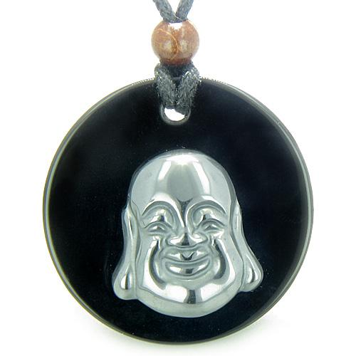 Amulet Happy Laughing Buddha Medalliin Black Onyx Hematite Magic Powers Pendant Necklace
