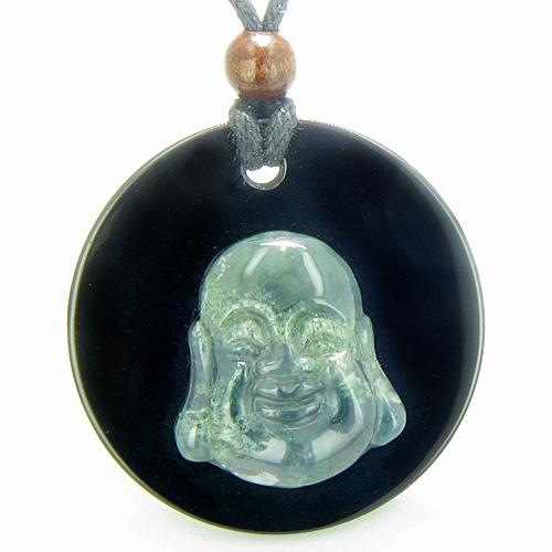 Amulet Happy Laughing Buddha MedalliBlack Onyx Green Moss Agate Gemstones Magic Pendant Necklace
