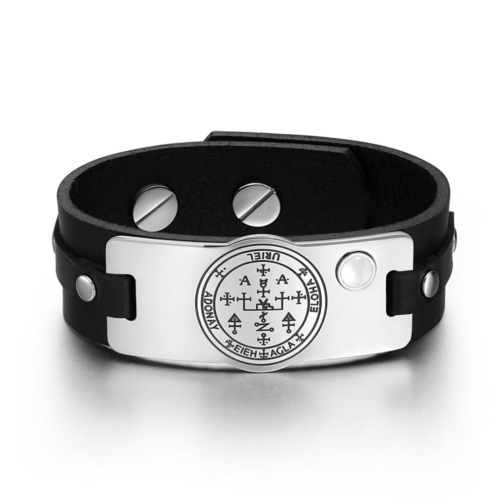 Archangel Uriel Sigil Magic Powers Amulet White Simulated Cats Eye Black Leather Bracelet