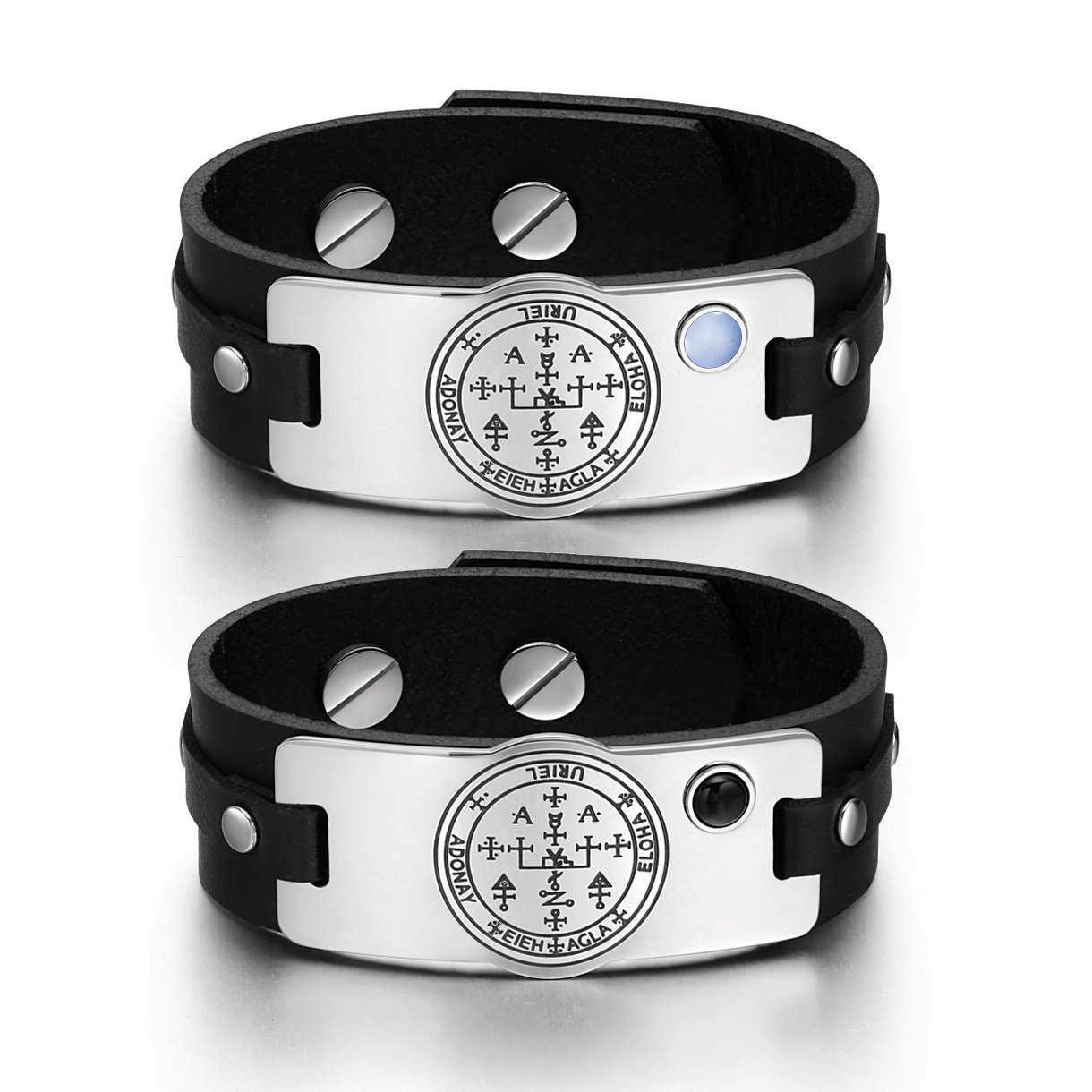 Archangel Uriel Sigil Love Couples Blue Simulated Cats Eye Simulated Onyx Black Leather Bracelets