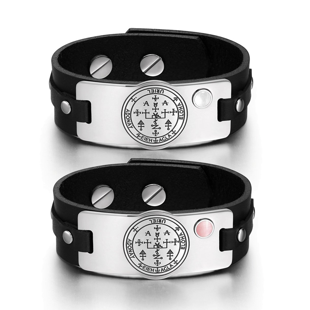 Archangel Uriel Sigil Love Couples White Pink Simulated Cats Eye Amulet Black Leather Bracelets