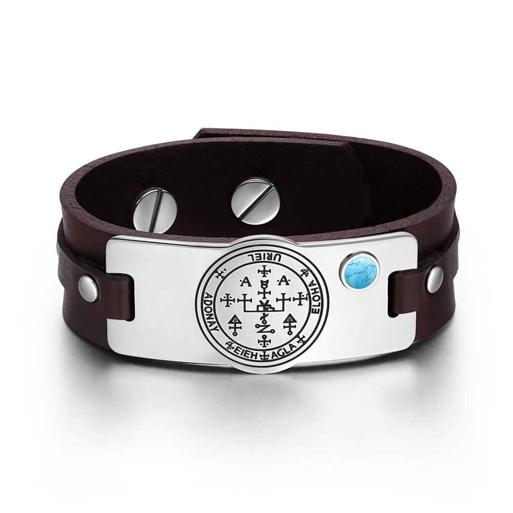 Archangel Uriel Sigil Magic Powers Amulet Simulated Turquoise Adjustable Brown Leather Bracelet