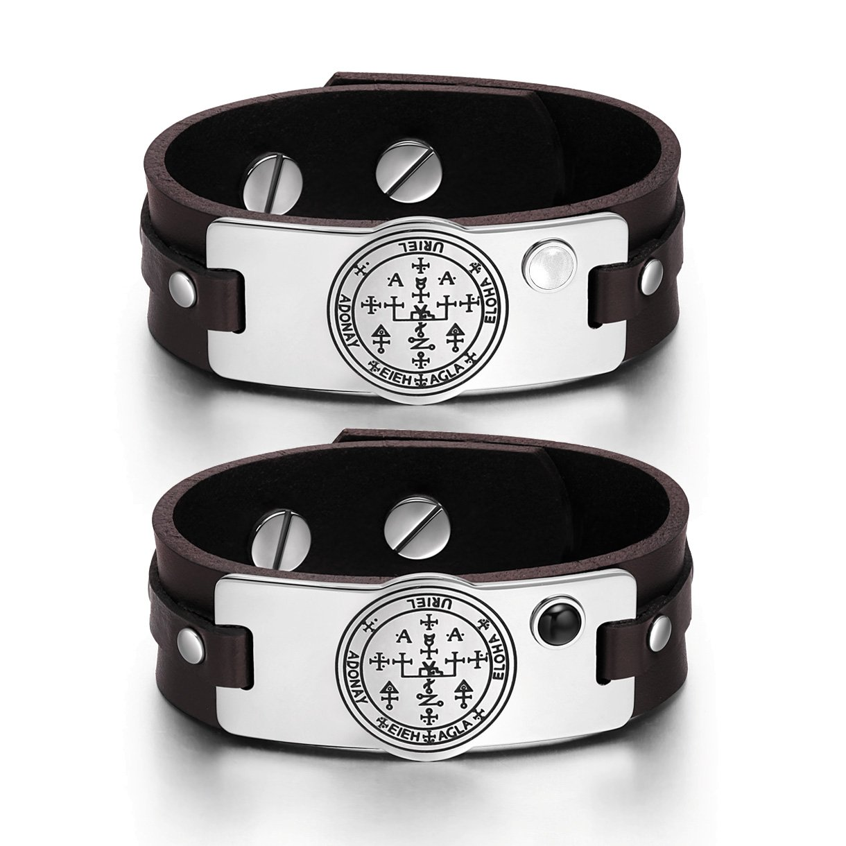 Archangel Uriel Sigil Love Couples White Simulated Cats Eye Simulated Onyx Brown Leather Bracelets