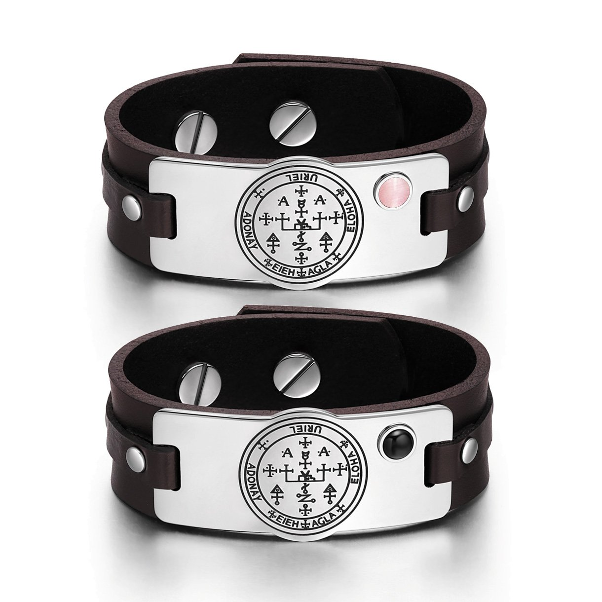 Archangel Uriel Sigil Love Couples Pink Simulated Cats Eye Simulated Onyx Brown Leather Bracelets