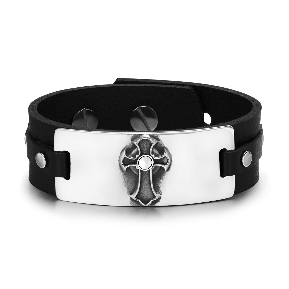 Ancient Celtic Viking Cross Protection Powers Amulet White Simulated Cats Eye Leather Bracelet