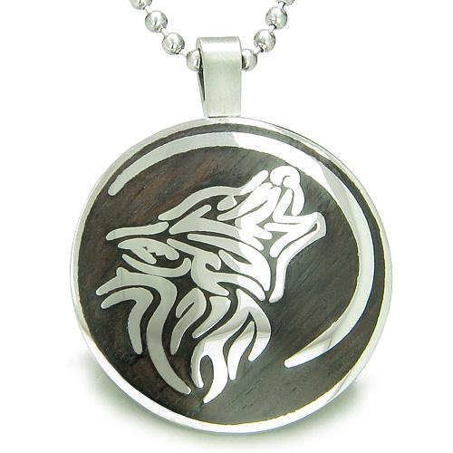 Wolf and Moon Magic Positive Protection Wood Powers Amulet Circle Pendant Necklace