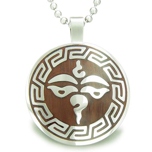 Tibetan Buddha All Seeing Third Wisdom Eye Wood Amulet Circle Pendant Necklace
