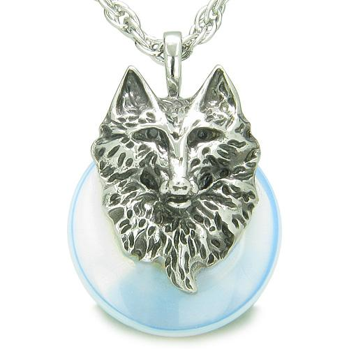 Amulet Wolf Head Courage Protection Powers Lucky Donut Opalite Pendant Necklace