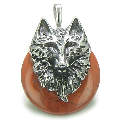 Amulet Wolf Head Courage and Protection Powers Lucky Donut Red Jasper Stainless Steel Pendant