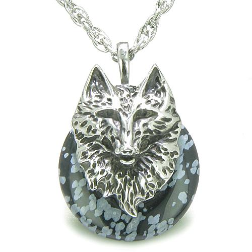 Amulet Wolf Head Courage Protection Powers Lucky Donut Snowflake Obsidian Pendant Necklace