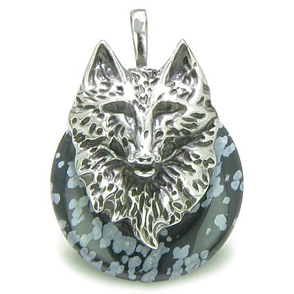 Amulet Wolf Head Courage Protection Powers Lucky Donut Snowflake Obsidian Pendant