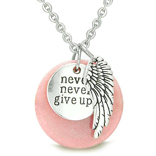 Angel Wing Inspirational Never Never Give Up Amulet Medallion Lucky Pink Jade Pendant Necklace