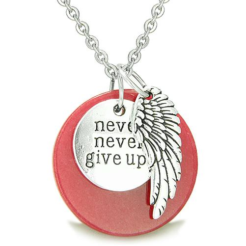 Angel Wing Inspirational Never Never Give Up Amulet Medallion Lucky Charm Cherry Red Jade Necklace