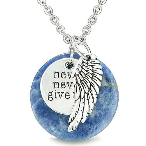 Angel Wing Inspirational Never Never Give Up Amulet Magic Medallion Lucky Charm Sodalite Necklace