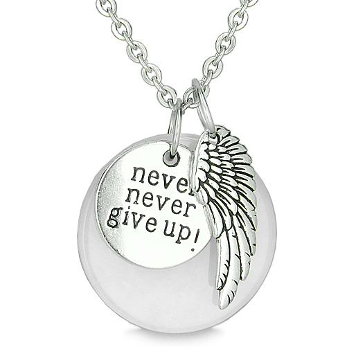 Angel Wing Inspirational Never Never Give Up Amulet Magic Medallion Lucky Charm White Jade Necklace
