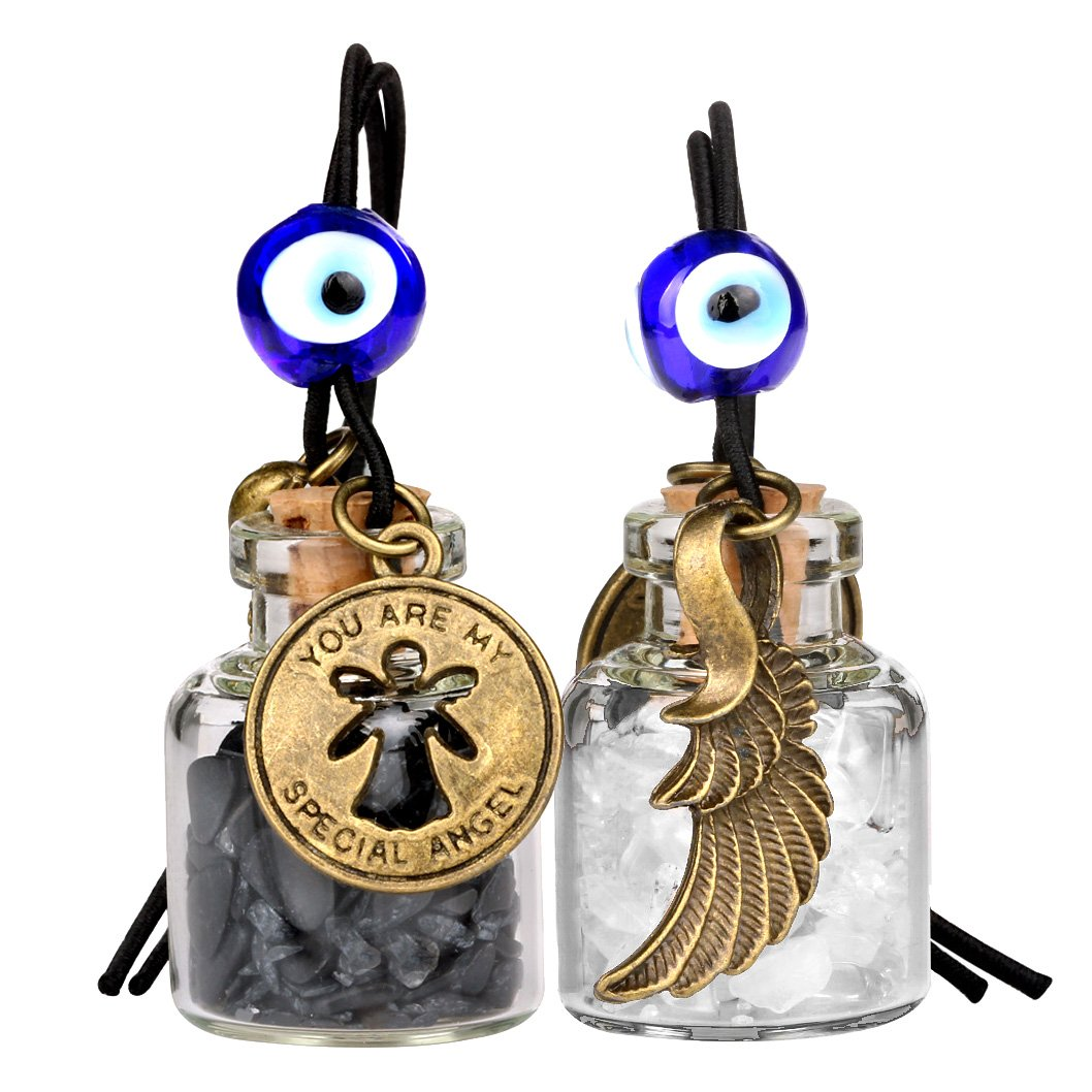 Guardian Angel Wings Magic Powers Small Car Charms Home Decor Bottles Quartz Black Obsidian Amulets