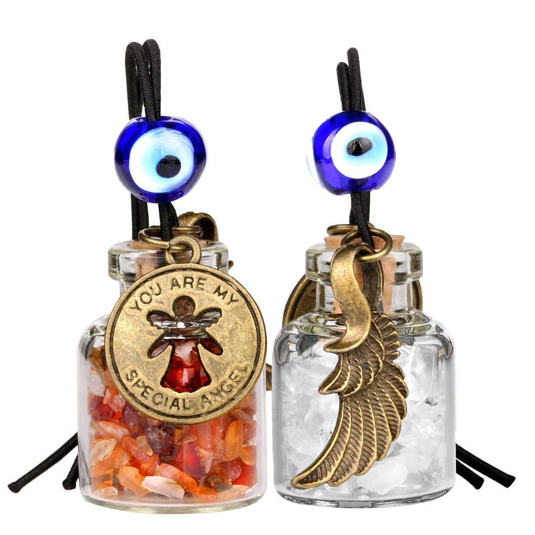 Guardian Angel Wings Magic Powers Small Car Charms Home Decor Gem Bottles Carnelian Quartz Amulets