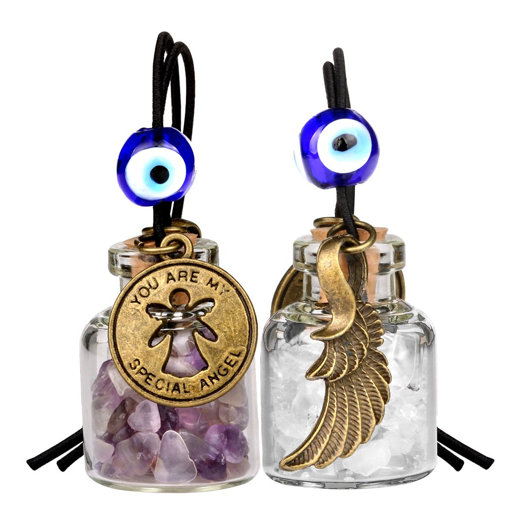 Guardian Angel Wings Magic Powers Small Car Charms Home Decor Gem Bottles Amethyst Quartz Amulets