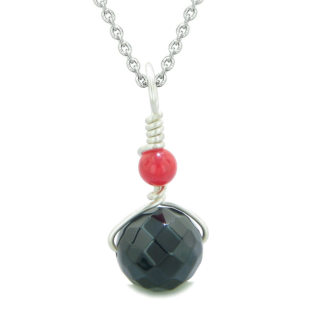 Double Lucky Wish Bead Amulet Faceted Black Onyx Red Quartz Lucky Charm Pendant 22 Inch Necklace