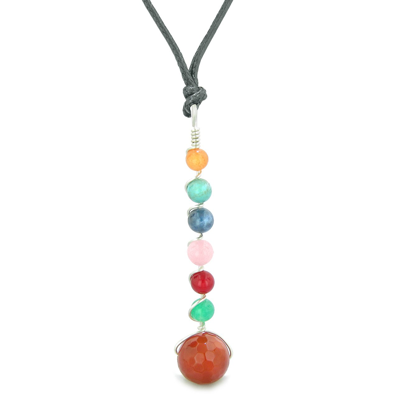 Chakra Wish Bead Amulet Faceted Carnelian Colorful Gemstones Lucky Charm Pendant Adjustable Necklace