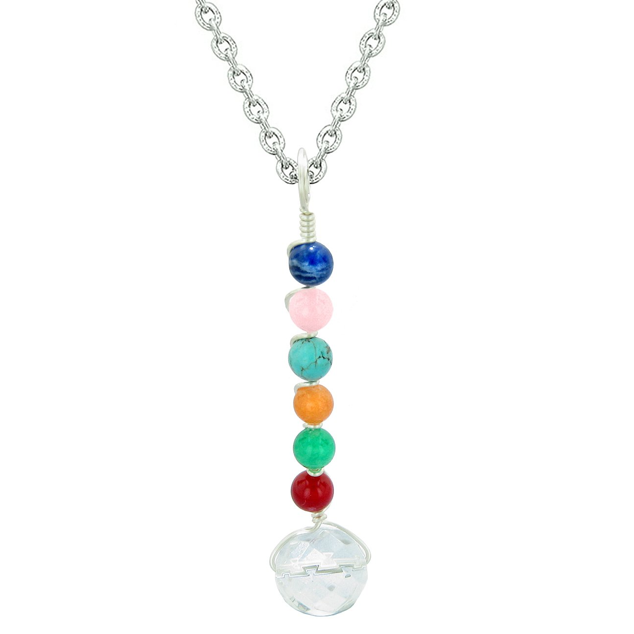 Chakra Wish Bead Amulet Faceted Crystal Quartz Colorful Gemstones Lucky Pendant 18 Inch Necklace