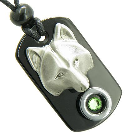 Amulet Wolf Mask Spiritual Protection Hematite Onyx Tag Green Swarovski Crystal Pendant Necklace