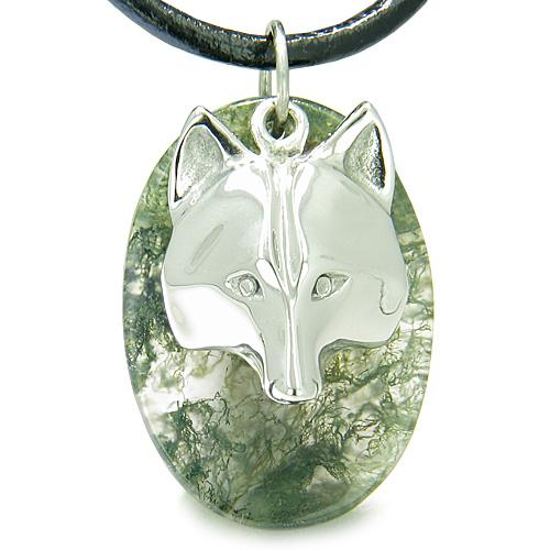 Amulet ProtectiWise Wolf Mask Good Luck Powers Green Moss Agate Gemstone Pendant Necklace