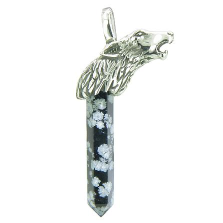 Courage Protection Powers Wolf Head Amulet Crystal Point Lucky Charm Snowflake Obsidian Pendant