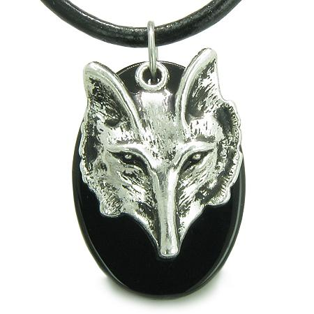 Amulet Courage Wise Wolf Head Spiritual Protection Powers Onyx Pendant Leather Cord Necklace