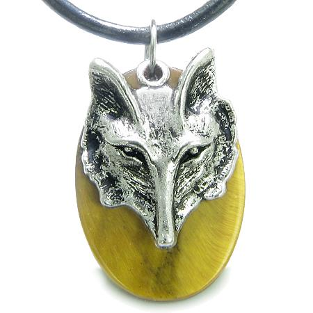 Amulet Courage Wise Wolf Head Evil Eye ProtectiPower Tiger Eye Pendant Leather Cord Necklace