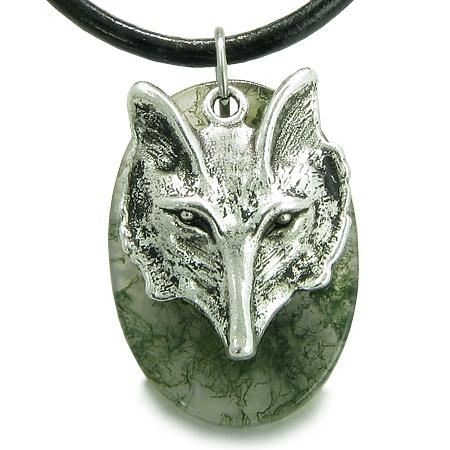 Amulet Courage Wise Wolf Head Good Luck ProtectiGreen Moss Agate Pendant Leather Necklace