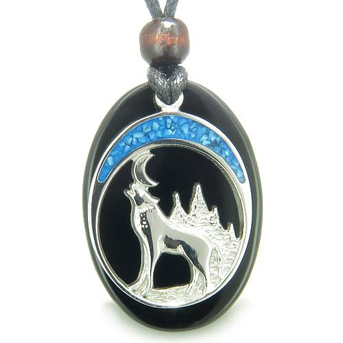 Howling Wolf Moon Amulet Spiritual Protection Powers Black Onyx Gemstone Pendant Necklace