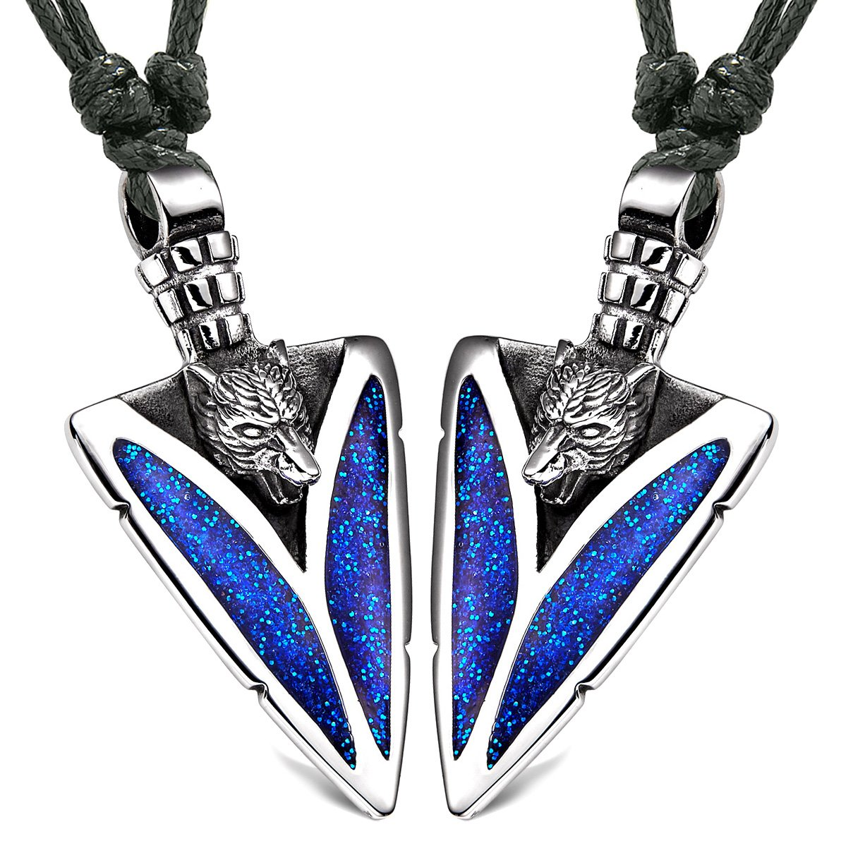 Arrowhead Howling Wolf Love Couples or Best Friends Amulets Set Sparkling Royal Blue Adjustable Necklaces
