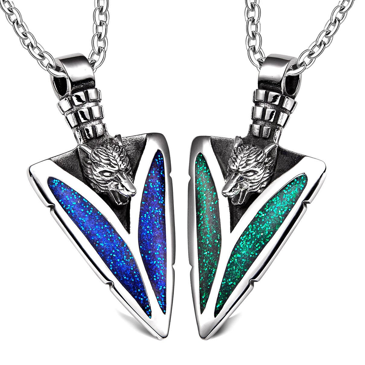 Arrowhead Howling Wolf Love Couples or BFF Set Protection Amulets Sparkling Royal Blue Green Necklaces