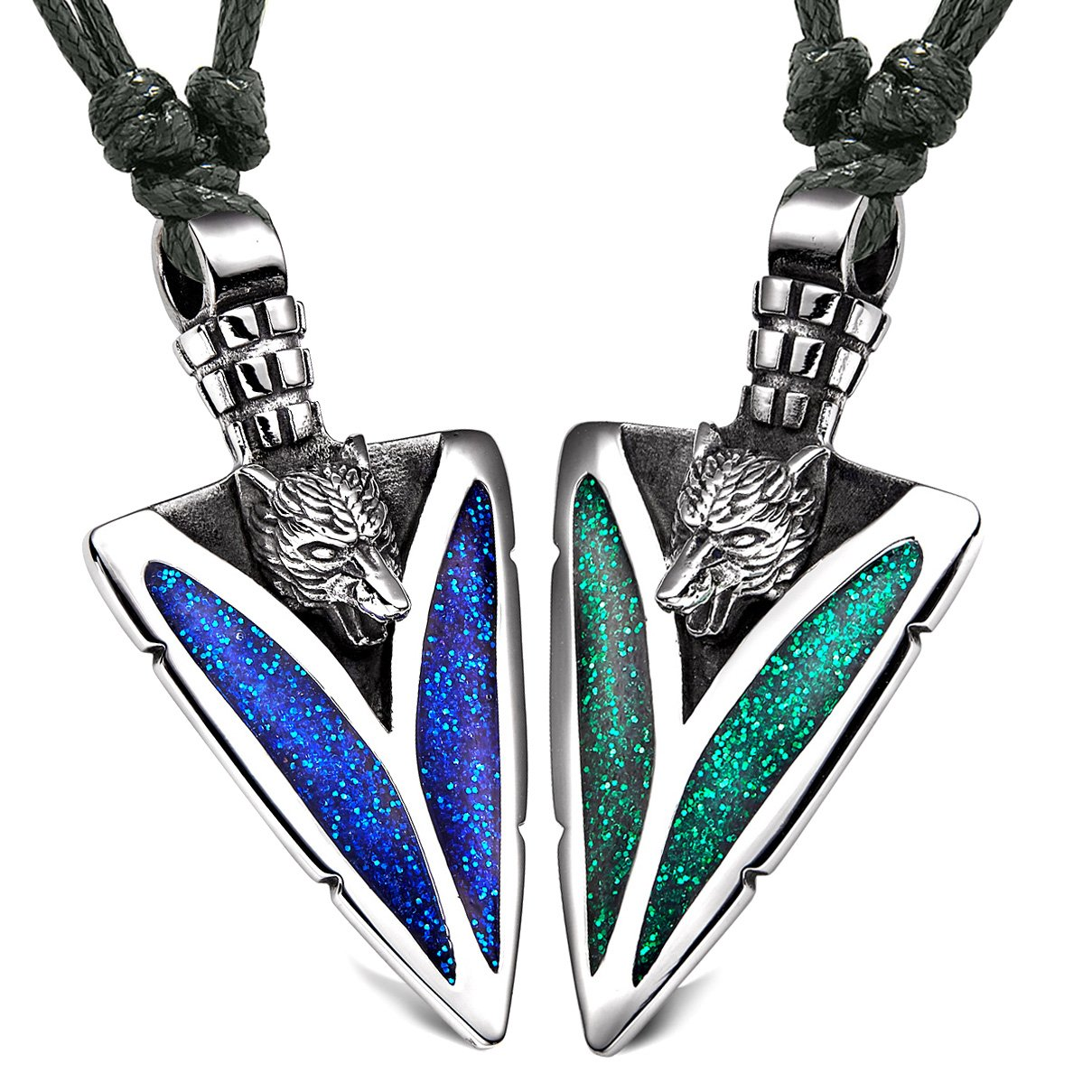 Arrowhead Howling Wolf Love Couples or BFF Set Amulets Sparkling Royal Blue Green Adjustable Necklaces