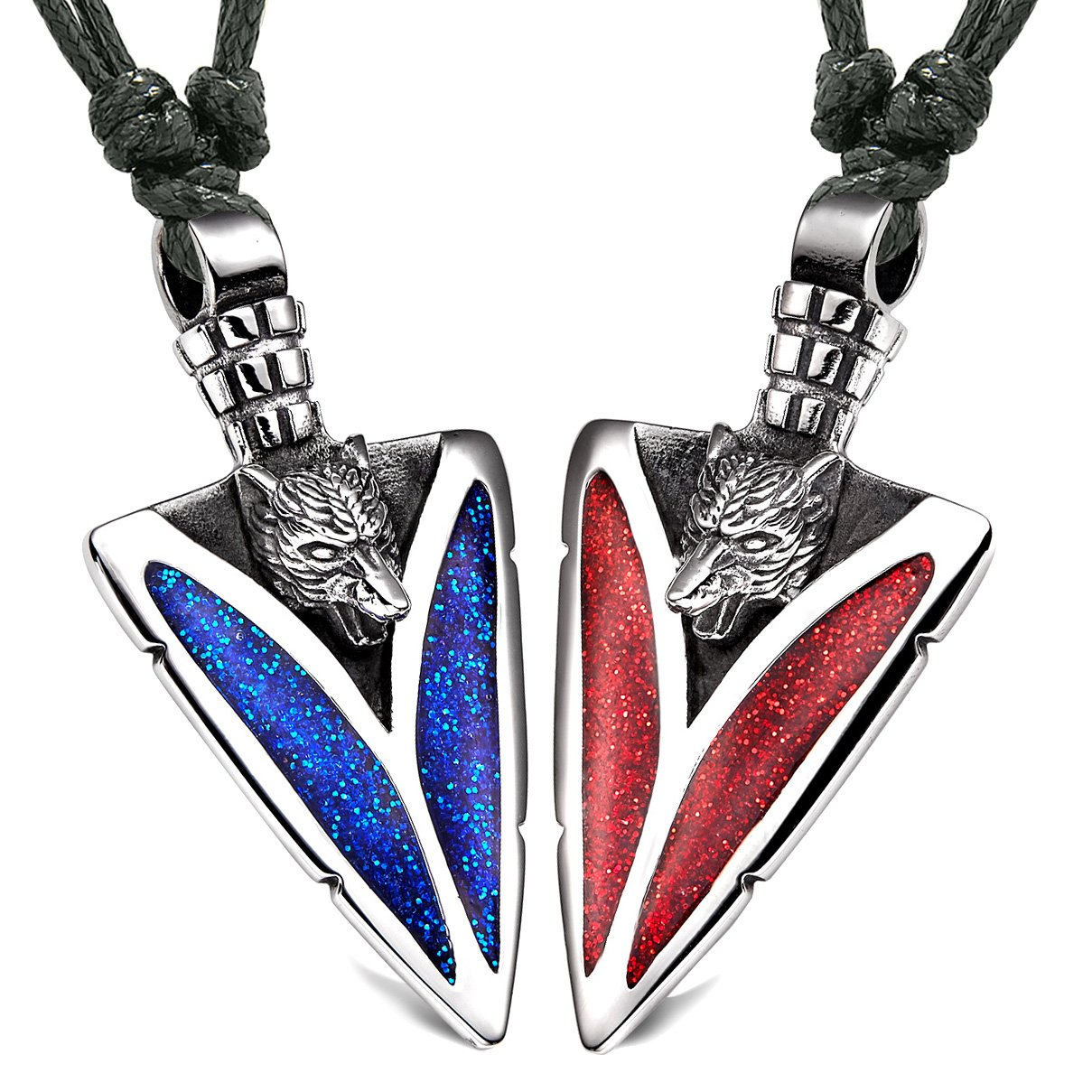 Arrowhead Howling Wolf Love Couples or BFF Set Amulets Sparkling Royal Blue Red Adjustable Necklaces