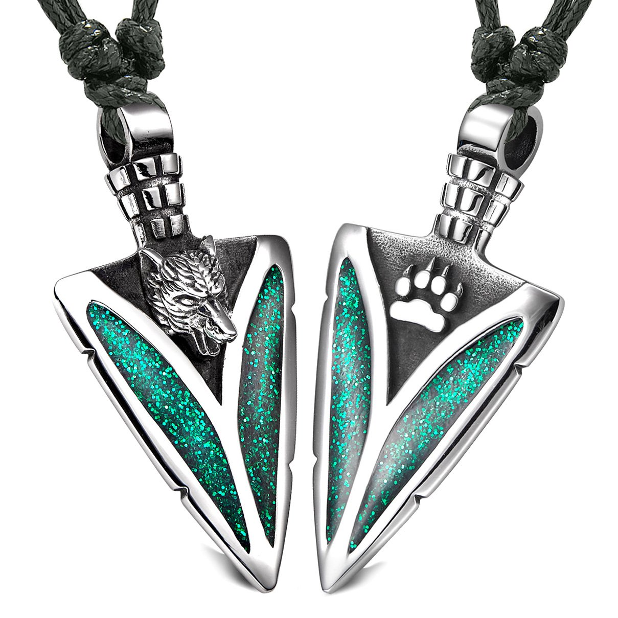 Arrowhead Howling Wolf and Paw Love Couples Best Friends Amulets Sparkling Royal Green Adjustable Necklaces