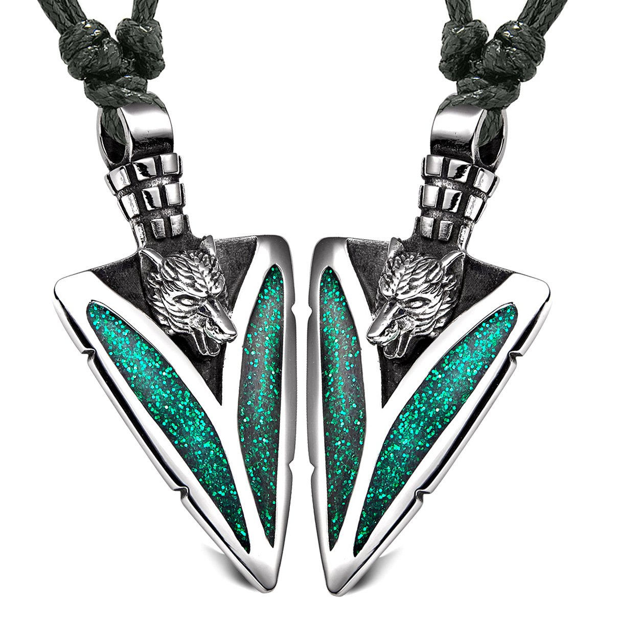Arrowhead Howling Wolf Love Couples or Best Friends Amulets Set Sparkling Royal Green Adjustable Necklaces