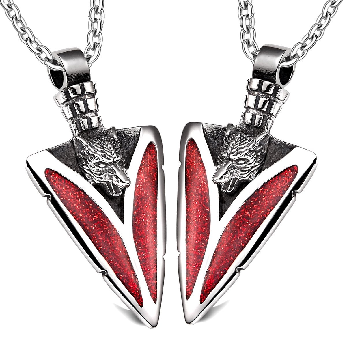 Arrowhead Howling Wolf Love Couples or Best Friends Protection Amulets Set Sparkling Royal Red Necklaces