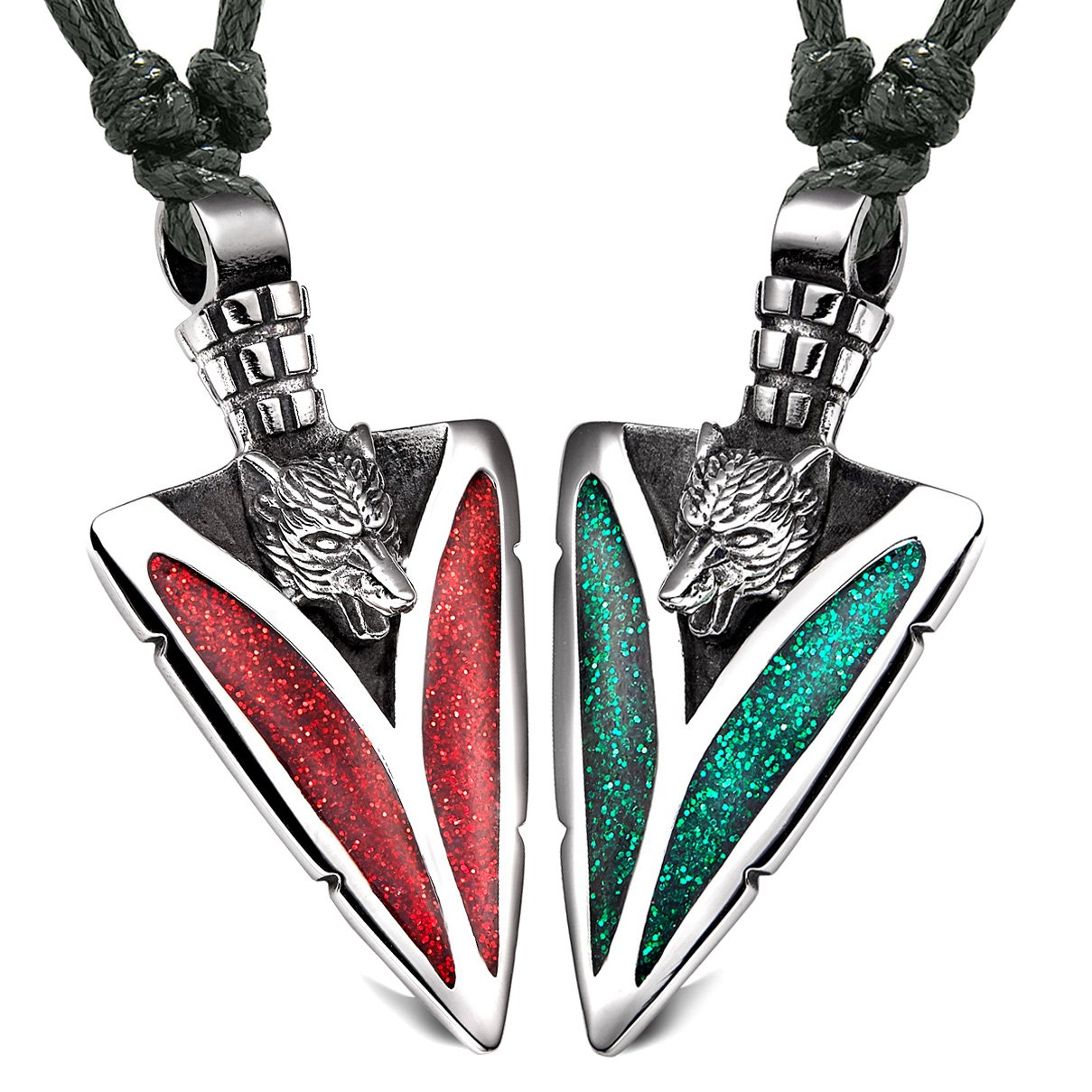 Arrowhead Howling Wolf Love Couples or BFF Set Amulets Sparkling Royal Green Red Adjustable Necklaces